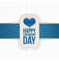 Friendship day paper label with festive ribbon vector