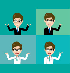 glasses man presenting in suit and doctor costume vector image