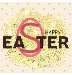 Gold glitter happy easter greeting card vector