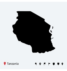 High detailed map of tanzania with navigation pins vector