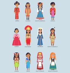 japan and alaska set of women vector image vector image