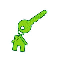 key with keychain as an house sign lemon vector image