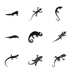 Lizard icons set simple style vector