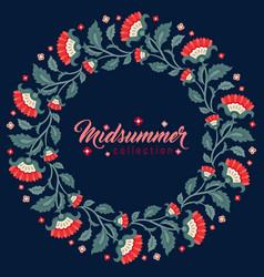Midsummer floral frame jacobean flowers wreath vector