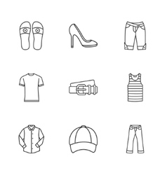 nine modern clothes icons vector image vector image