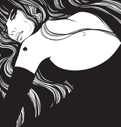 queen of spades in a black dress vector image