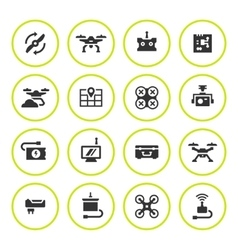 Set round icons of quadrocopter and drone vector
