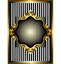 Silver frame with gold decor on striped background vector image