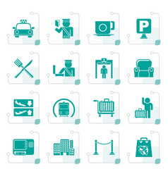 stylized airport travel and transportation icons vector image vector image