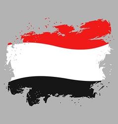 Yemen flag grunge style on gray background Brush vector image