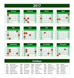 Template green calendar 2017 year vector