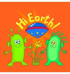 Two aliens with inscription Hi Earth vector image