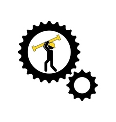 Man construction gears carrying tool icon vector