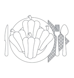 Peppers over plate and cutlery design vector