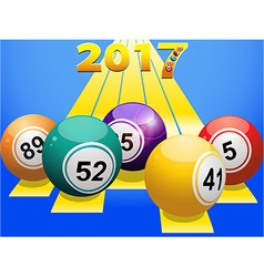 Bingo balls 2017 on yellow stripes vector image
