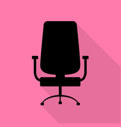 Office chair sign black icon with flat style vector
