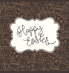 Chocolate happy easter vintage greeting card vector