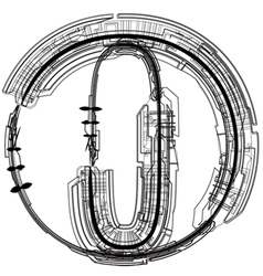 Technical typography letter o vector