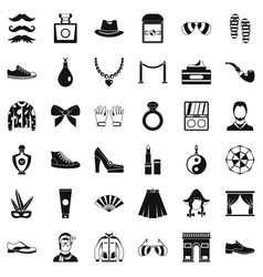 Vogue life icons set simple style vector