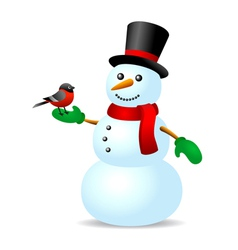 Vintage snowman with bird vector