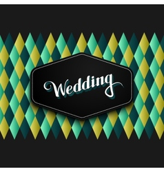 Handwritten wedding retro label vector