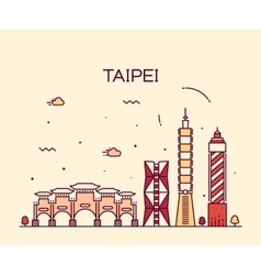 Taipei skyline trendy linear vector