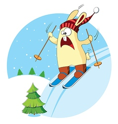 Cartoon bunny goes skiing vector