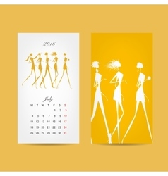 Calendar 2016 grid fashion girls design vector