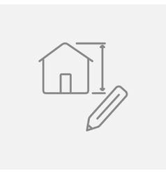 House design line icon vector image