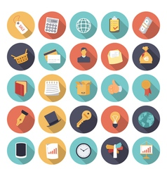 Icons flat colors business concept vector