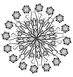 Henna beautiful deco black floral mandala vector