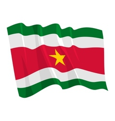 political waving flag of suriname vector image