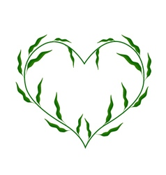 Fresh green leaves forming in heart shape vector