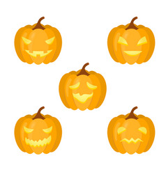 a set of pumpkins for halloween vector image