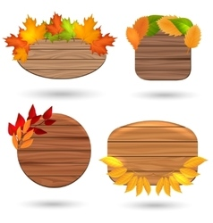 Autumn wood banners with colorful leaves vector