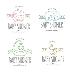 Baby shower hand drawn invitations set vector