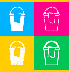 Bucket and a rag sign four styles of icon on four vector