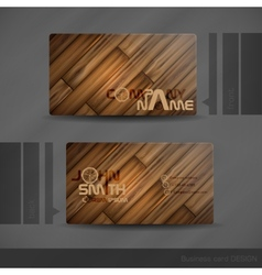 Business Card Design With Wood Texture vector image