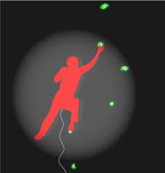 Climber climbing competitions illuminated spotligh vector