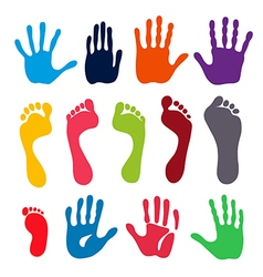 Colored generation hand and foot prints vector