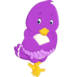 cute purple bird cartoons vector image vector image