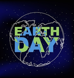 Earth Day Line silhouette of planet earth vector image