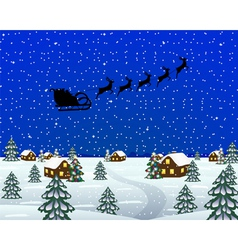 Evening landscape at christmas vector