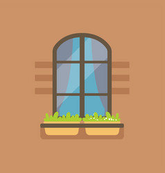 Flat arched window and potted flowers vector
