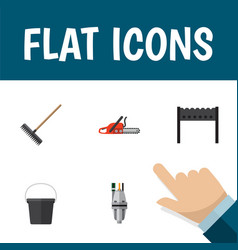 Flat icon farm set of pail hacksaw pump and vector