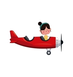 Girl fly red airplane love day vector