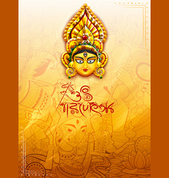 Goddess durga in happy durga puja background with vector