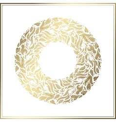Gold round frame floral decoration made vector