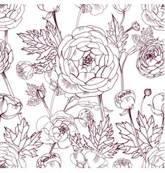 Hand drawn vintage outline floral seamless pattern vector