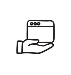 Hand holding browser window sketch icon vector